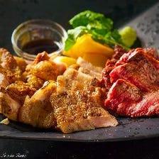 炭火焼き盛り合わせ 〜お好きな肉入り(牛or鶏or魚介)