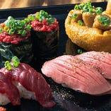 当店自慢の「肉寿司」は職人が丁寧に一貫ずつ握っております!