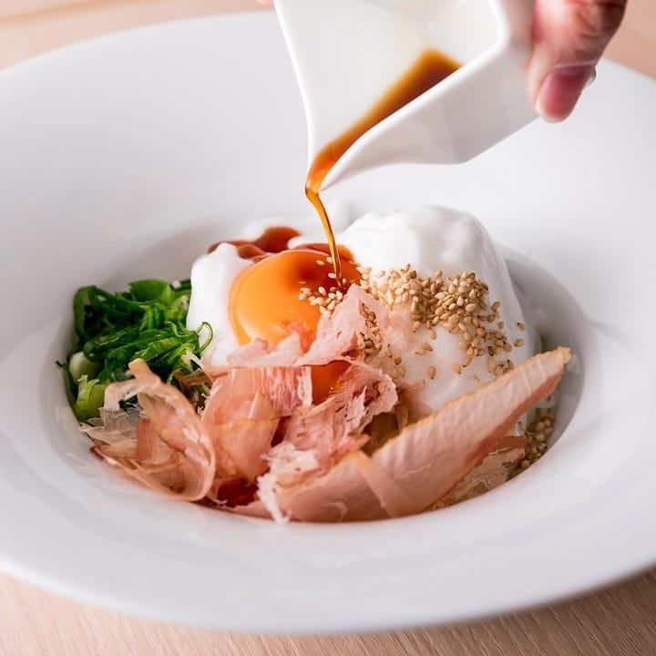 卵白をメレンゲ状にしたふわふわ釜玉そうめんは一口で幸せな食感