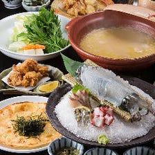 活イカと水炊きを味わうコース