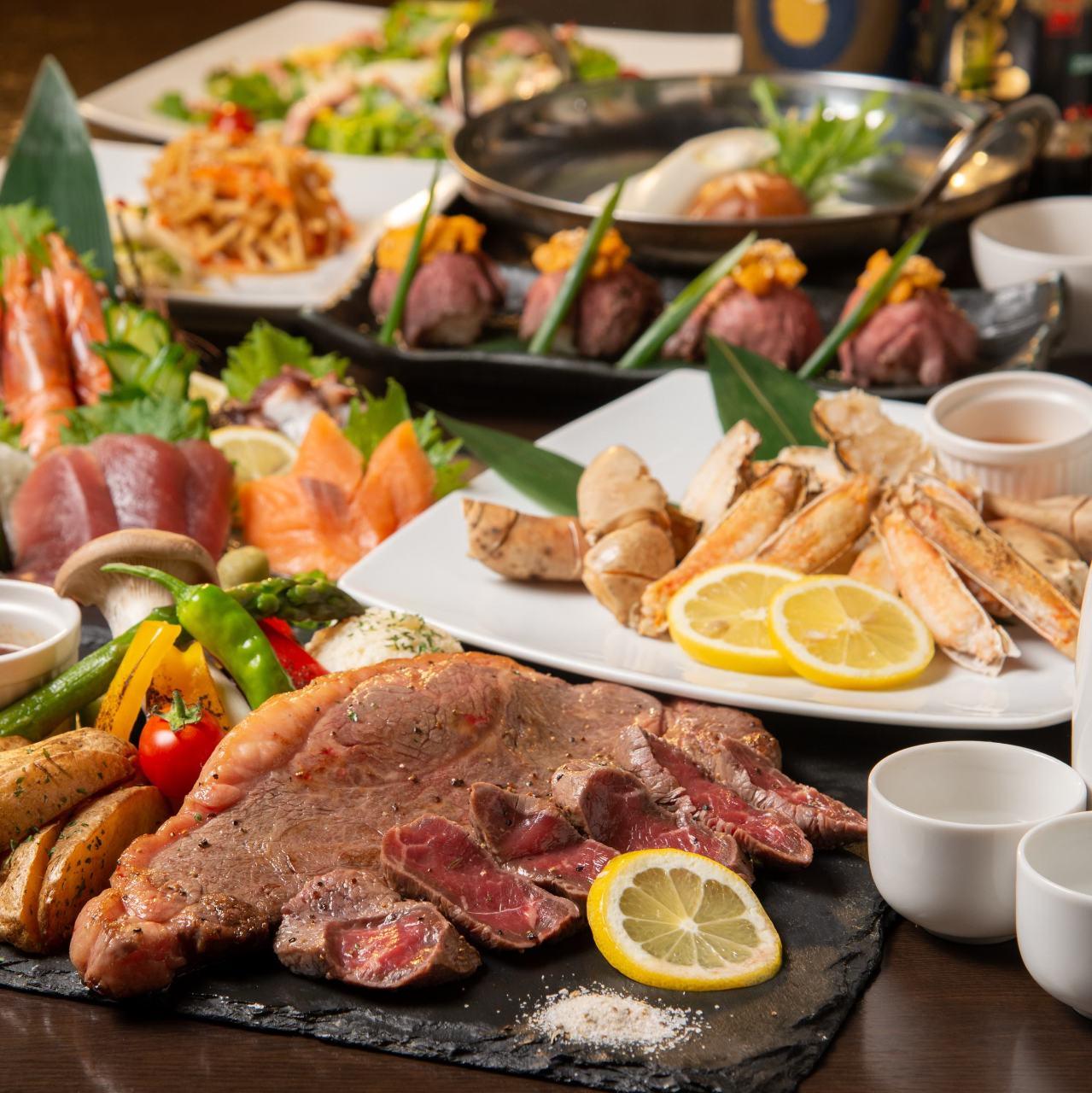 ◆金美コース◆3h飲放×料理8品◆当店一番◎ウニのせ肉寿司に厚切りステーキ等5,300円→ 4,300円