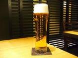 泡が自慢の生ビール