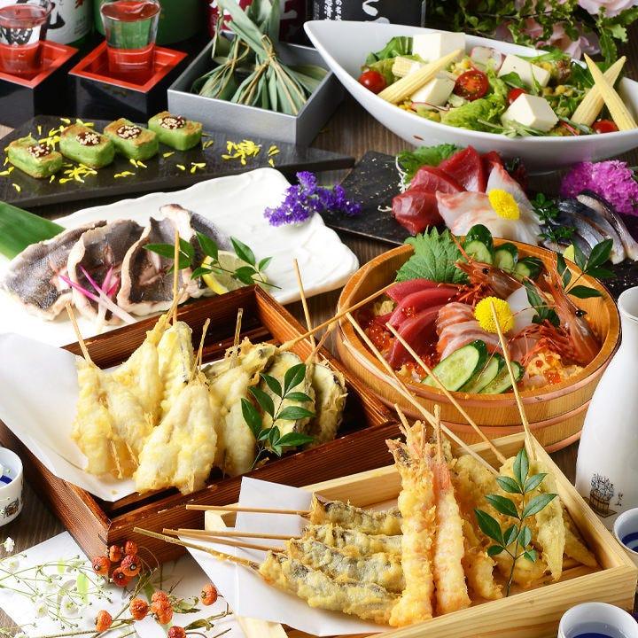 季節に合わせた旬の素材を上質な天ぷらでどうぞ。