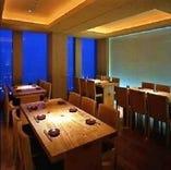 地上200メートル、同窓会・接待にも最適な夜景の見える半個室。