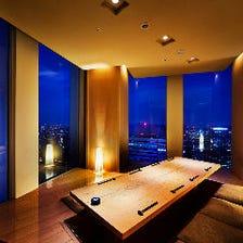 夜景を眺める掘りごたつ半個室