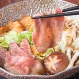 【牛たんのすき焼き】 牛たんと野菜の旨味がとけ出した贅沢味