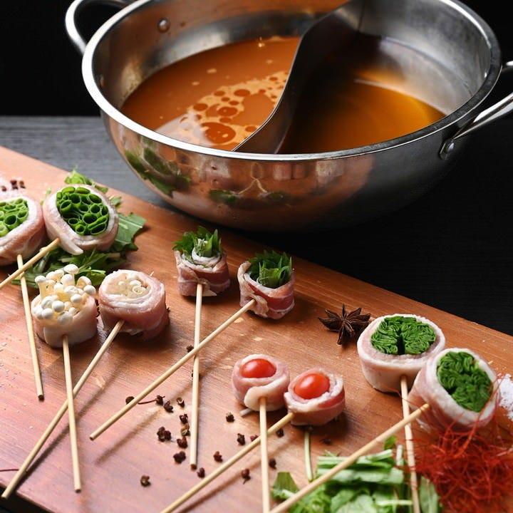 九州名物もつ鍋or博多串しゃぶが選べます!ほっと温まるひと時を