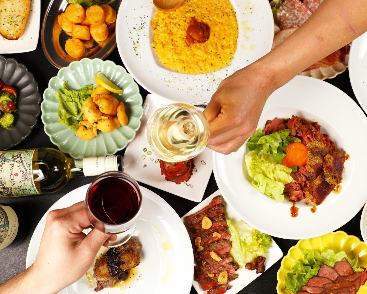 生ハム&サラミやピッツァ、パスタが楽しめるパーティーコース