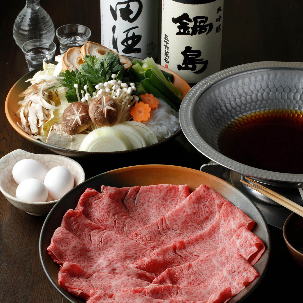 『すき焼きコース』[全6品]〆まで存分に。牛鍋風に楽しむ絶品すき焼き鍋で宴会