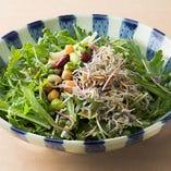 春菊と水菜のちりめんサラダ
