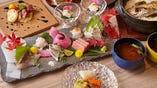 本鮪が入った鮮魚の5種盛り。鮪問屋さん厳選・直送の逸品です。