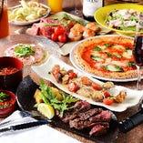 石窯で焼き上げたピッツァなど、自慢のイタリアンが揃うコース