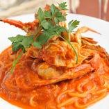 渡り蟹のリングイネ 濃厚トマトクリームソース