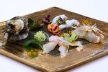 唐津市場より届いた魚貝の盛り合せ