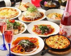 ¥3800コース お食事7品40種以上のお飲み物2時間半飲み放題  平日ならお席時間が無制限