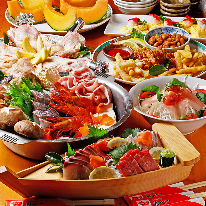 鮮魚のお造りなど旬の味覚をたっぷりと満喫できる宴会コース