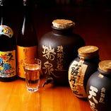 焼酎は定番の銘柄から、カメ壷熟成・古酒まで取り揃えております!