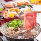 松茸と牛肉のすき焼き小鍋