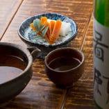 大阪産ボラ子を塩漬け、天日干しした自家製カラスミは肴に最適。