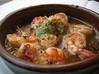 海老のアヒーリョ(オリーブオイルのニンニク土鍋煮)