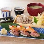神戸牛とサーモンの鯛めし握りと天ぷら蕎麦