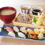 鯛めし握り7貫と天ぷら蕎麦