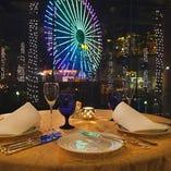イルミネーションを眺めながら食して会話が弾む愉しいテーブル席