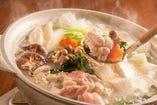 コラーゲンたっぷり水炊き鍋、紀州勇逸の地鶏を堪能してください