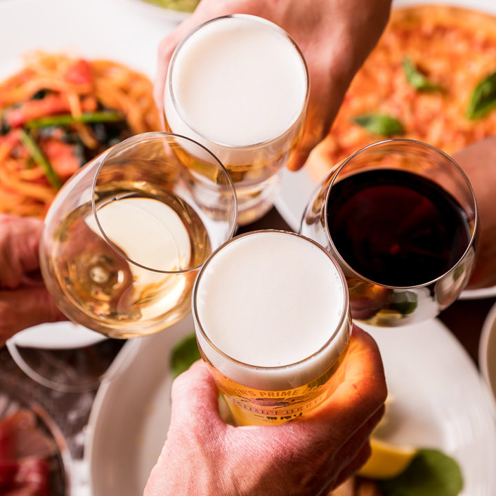 各種宴会にぴったりの2時間飲み放題付コースは3,800円からご用意