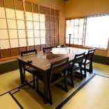【2名様~12名様】畳の和個室(一例) テーブル中央に飛沫防止板を設置しています