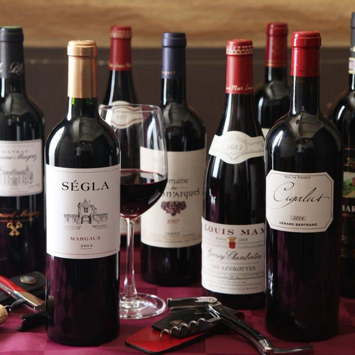 赤・白・ロゼ等ワインを約20種ご用意