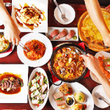 その1★まずは当店の二大看板メニュー 「パエリア」か「トマト鍋」をお選びください!