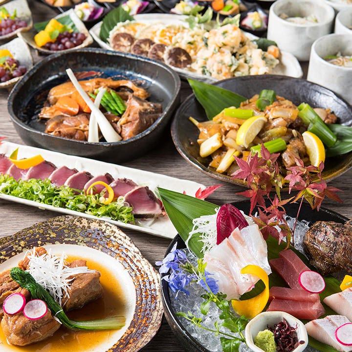 自慢の鮮魚&肉料理をたっぷりと楽しめる飲み放題付宴会コース