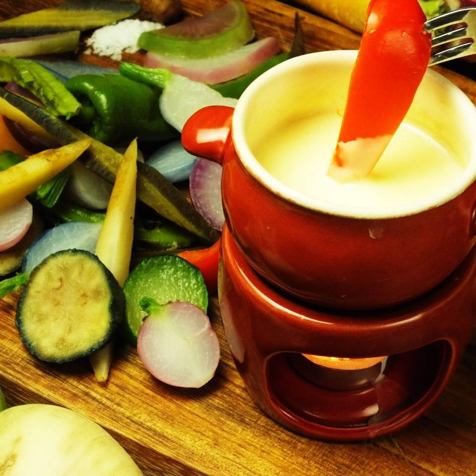 鎌倉野菜のチーズフォンデュを♪