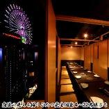 夜景の見せるお席は22名様まで利用可能。宴会最大34名様まで。