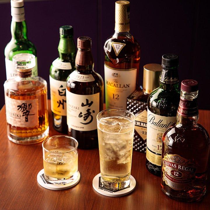 ウイスキーなどの豊富なドリンク