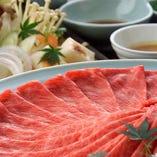 近江牛はしゃぶしゃぶやすき焼き、お寿司、ステーキなどでご提供。
