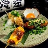 【4種のブレンドつくね串】おろしポン酢つくね・チェダーチーズつくね串・月見つくね串