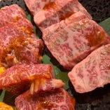 赤身肉3種盛り 例)上ハラミ、特上ミスジ、リブロースなど