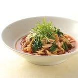 蒸し淡路どりと小松菜のトマト味噌