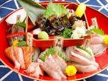 かつを塩タタキ&三浦鮮魚の5点盛り