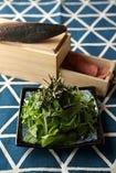 ほうれん草&水菜のサラダ~削りたて海の生ハム『かつを』のっけ