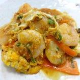 海老のカレー炒め卵とじ