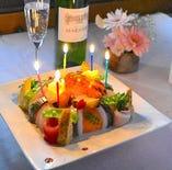 寿司ケーキでお祝い♪テイクアウトもOKです。