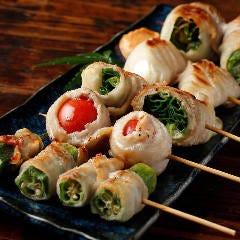 肉巻き野菜串のおまかせ盛り