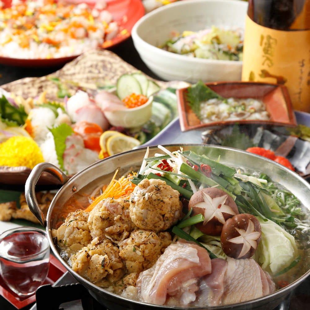【冬宴会】囲い特製の地鶏鍋・当店オリジナルの肉寿司♪ 3H飲み放題付+料理7品 3980円→2980円