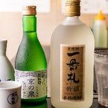 華やかな風味の厳選本格焼酎「一番札」と辛口でもんじゃにピッタリの「京の泉」