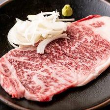 A5ランクの牛肉など肉料理も楽しめる