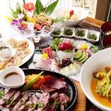 鮮魚刺身盛・ステーキ・エビマヨetc.…贅を極めた沖縄料理尽くしのプランも!