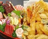 新鮮なお刺身と揚げたての 天ぷらにおなかも大満足